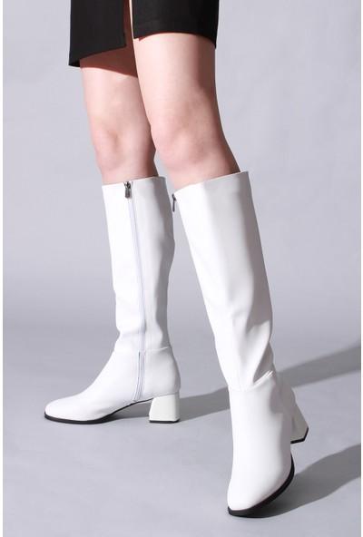 Rovigo Plus Beyaz Cilt Kadın Çizme
