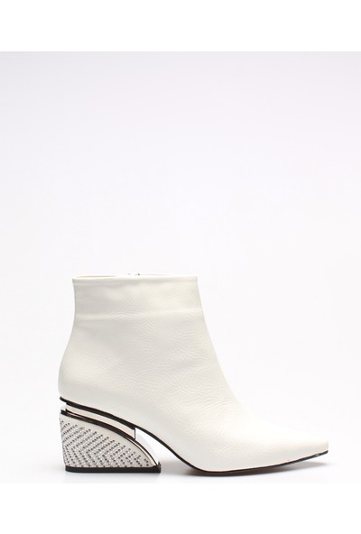 Rovigo Plus Beyaz Rugan Taşlı Kadın Bot