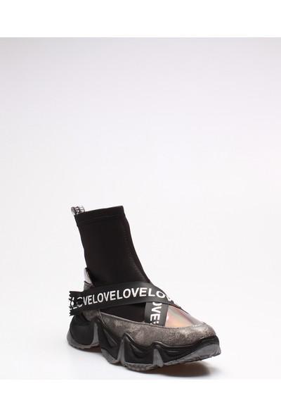 Rovigo Plus Gri Siyah Platin Kadın Bot