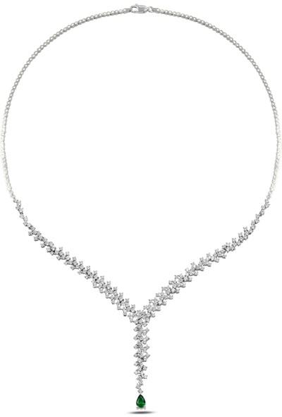 Barış Takı 925 Ayar Gümüş Damla Salkım Pırlanta Montür Su Yolu Kadın Düğün Seti