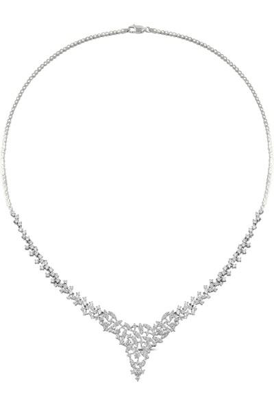 Barış Takı 925 Ayar Gümüş Mekik Pırlanta Montür Su Yolu Kadın Düğün Seti