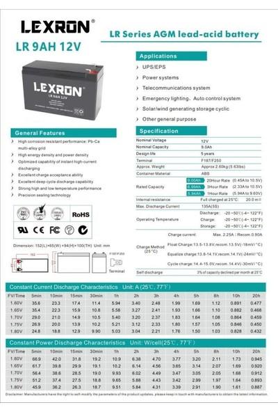Lexron 12V 9AH Kuru Akü
