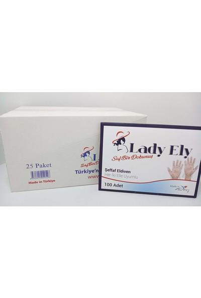 Lady Ely Şeffaf Eldiven 500 Adet (5 x 100'lük Paket)