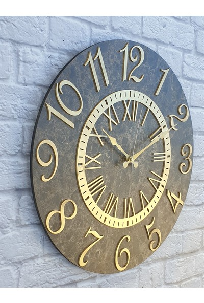 Markakanvas Mermer Desenli Altın Rakamlı Duvar Saati Çap 50 cm