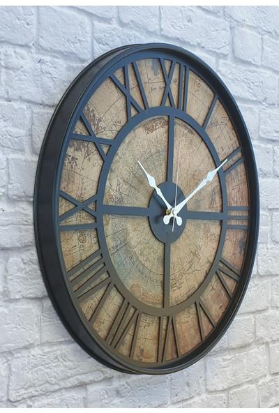 Markakanvas Metal Kasalı Eski Dünya Haritalı Duvar Saati 50 cm