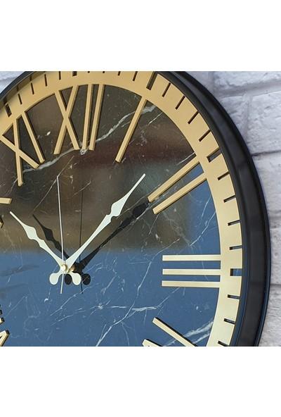 Markakanvas Metal Kasalı Mermer Desenli Altın Duvar Saati