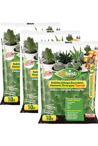 Bitbest Bio 3'lü 30 lt Kaktüs Lithops ve Succulent Toprağı Gübreli Karışım