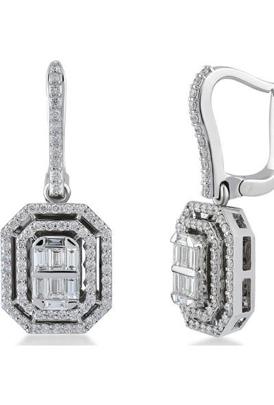 D Diamond 1,10 Karat Pırlanta Baget Küpe (Altın)