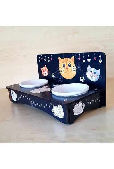 Hobicim Ultraviyole Baskılı Kedi Mama ve Su Kabı Seramik Kaseli