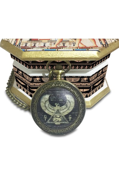 Kuzey Caddesi Antik Mısır Horus Cep Saati Kişiye Özel Köstekli Cep Saati 514