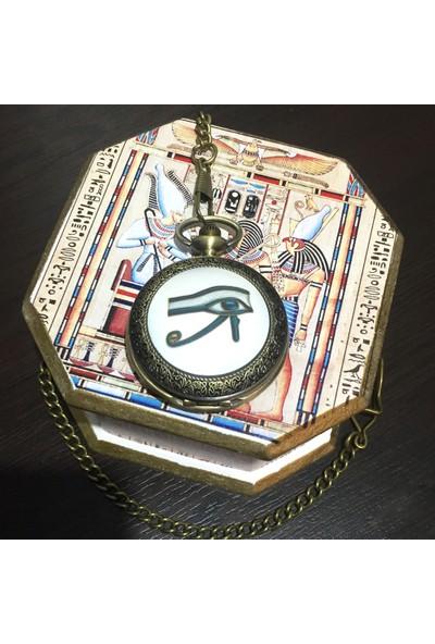 Kuzey Caddesi Antik Mısır Horusun Gözü Kişiye Özel Köstekli Cep Saati 515