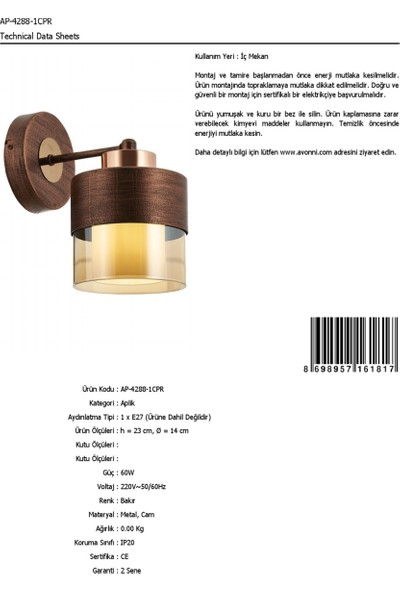 AVONNI AP-60193-1CPR Bakır Patina Boyalı Aplik E27 Metal Cam 14x19cm