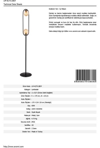 AVONNI LM-60180-2BSY Siyah Boyalı Lambader E27 Metal Cam 20cm