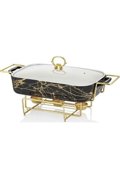 Lucca Home Black & Gold 43 cm Dikdörtgen Isıtıcılı Servis Tenceresi