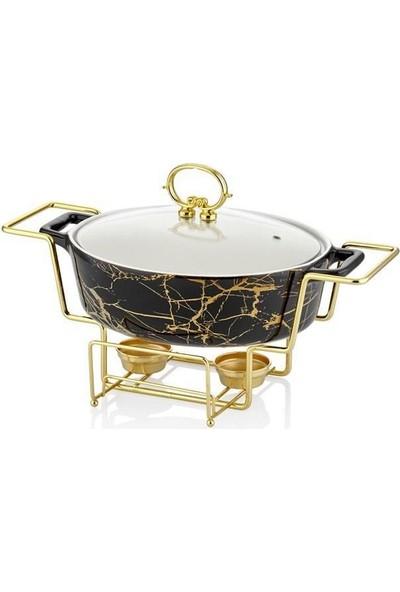 Lucca Home Black & Gold 29,5 cm Oval Isıtıcılı Servis Tenceresi
