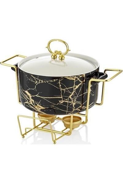 Lucca Home Black & Gold 26 cm Yuvarlak Isıtıcılı Servis Tenceresi