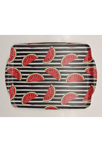 Lucca Home Watermelon Melamin Kaydırmaz Tepsi 41 x 30 cm