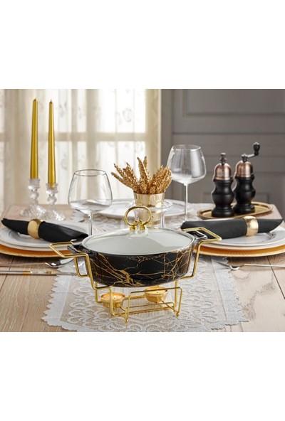 Lucca Home Black & Gold 2'li Oval Servis Tenceresi