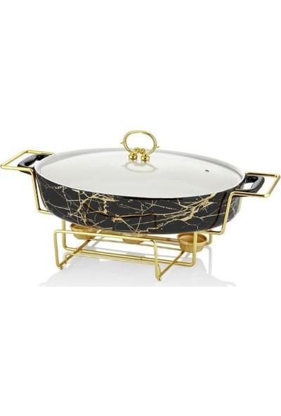 Lucca Home Black & Gold 43 cm Oval Isıtıcılı Servis Tenceresi