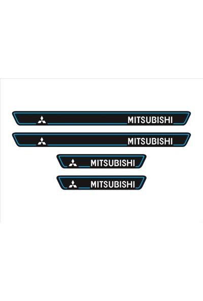 Ömr Dizayn Hediye Mitsubishi Logolu 4'lü Kapı Eşiği Oto Aksesuar Mavi
