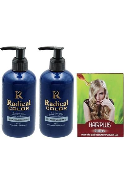 Radical Color Saç Boyası Gece Mavisi 250 ml 2 Adet ve Hairplus Saç Açıcı