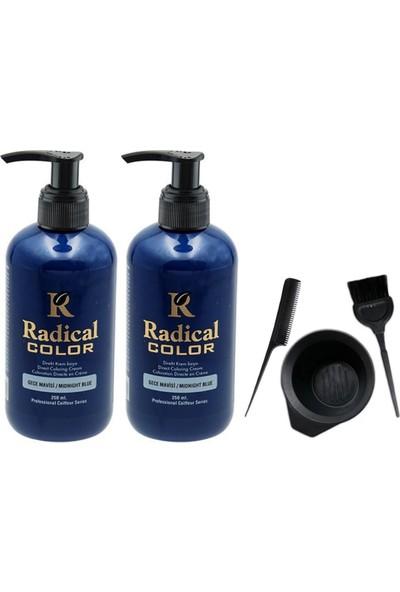 Radical Color Saç Boyası Gece Mavisi 250 ml 2 Adet ve Saç Boya Kabı Seti