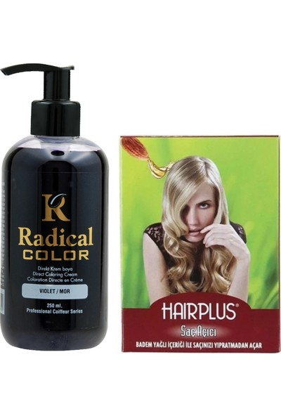Radical Color Saç Boyası Mor 250 ml ve Hairplus Saç Açıcı