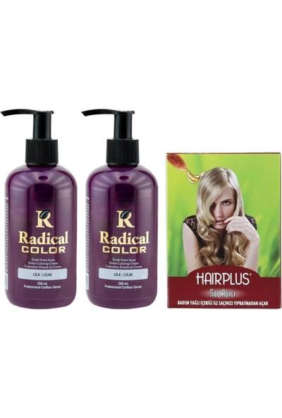 Radical Color Saç Boyası Lila 250 ml 2 Adet ve Hairplus Saçaçıcı