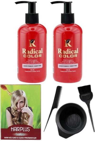 Radical Color Saç Boyası Şeker Pembesi 250 ml 2 Adet Saç Açıcı ve Saç Boya Kabı Seti