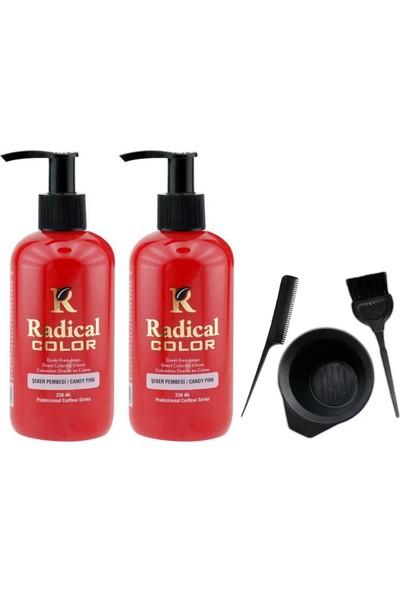 Radical Color Saç Boyası Şeker Pembesi 250 ml 2 Adet ve Saç Boya Kabı Seti