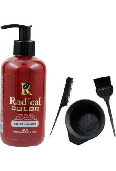 Radical Color Saç Boyası Biber Kızılı 250 ml ve Saç Boya Kabı Seti