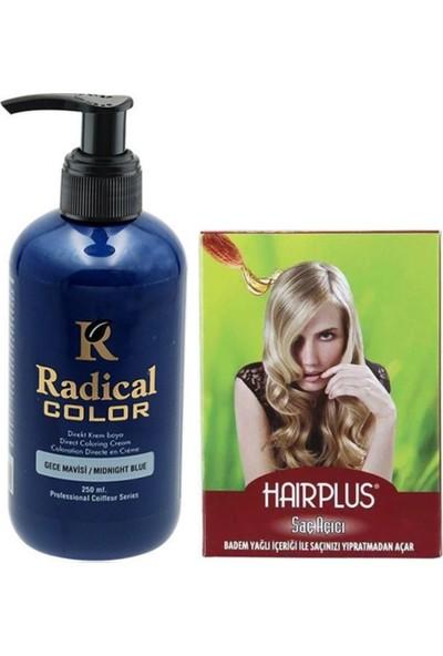 Radical Color Saç Boyası Gece Mavisi 250 ml ve Hairplus Saç Açıcı