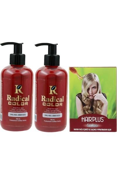 Radical Color Saç Boyası Biber Kızılı 250 ml 2 Adet ve Hairplus Saç Açıcı