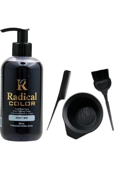 Radical Color Saç Boyası Mor 250 ml ve Saç Boya Kabı Seti