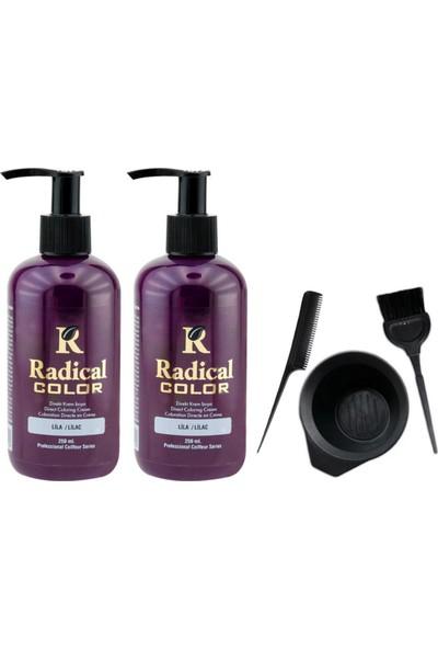 Radical Color Saç Boyası Lila 250 ml 2 Adet ve Saç Boya Kabı Seti