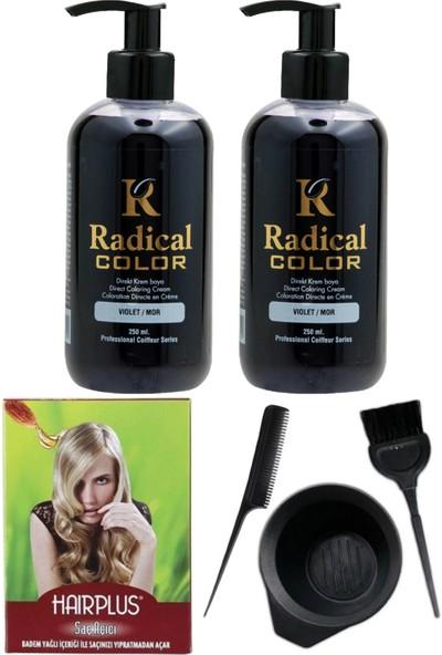 Radical Color Saç Boyası Mor 250 ml 2 Adet Saç Açıcı ve Saç Boya Kabı Seti