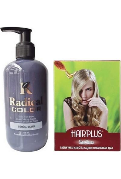 Radical Color Saç Boyası Gümüş 250 ml ve Hairplus Saç Açıcı