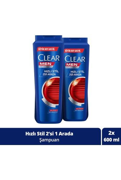 Clear Men Hızlı Stil 2'si 1 Arada Şampuan 600 ml x 2 Adet