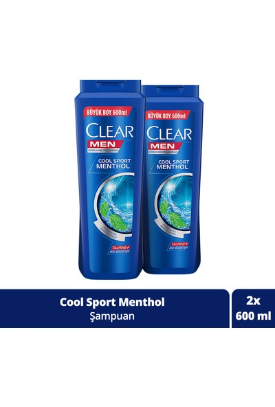 Clear Men Cool Sport Menthol Şampuan 600 ml x 2 Adet