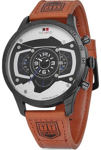Ticarto T-3027A Gerçek Deri Kordon Çelik Kasa Erkek Kol Saati