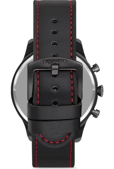 Ticarto T-3027A2 Gerçek Deri Kordon Çelik Kasa Erkek Kol Saati