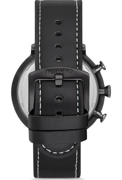 Ticarto T-3031A2 Gerçek Deri Kordon Çelik Kasa Erkek Kol Saati