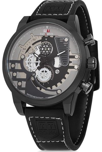 Ticarto T-3030-2 Gerçek Deri Kordon Çelik Kasa Erkek Kol Saati