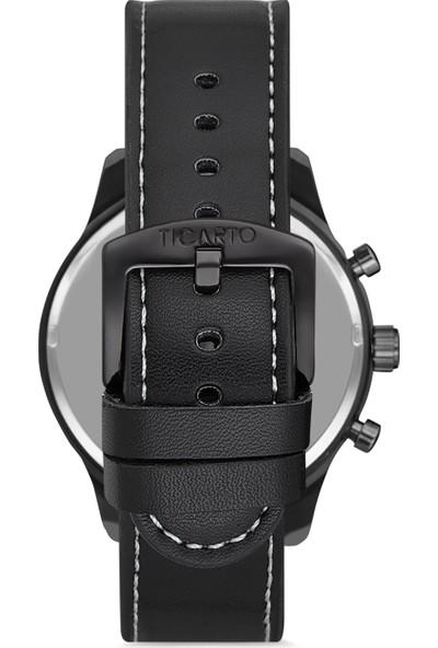 Ticarto T-3027A3 Gerçek Deri Kordon Çelik Kasa Erkek Kol Saati