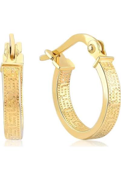 Gelin Pırlanta 14 Ayar Altın Roman Harfli Halka Küpe - 1.7 cm