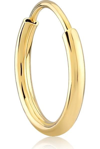 Gelin Pırlanta 14 Ayar Altın Halka Küpe - 1.3 cm
