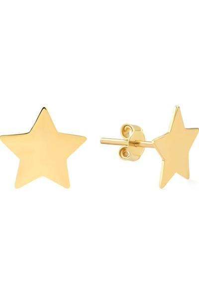 Gelin Pırlanta 14 Ayar Altın Yıldız Küpe