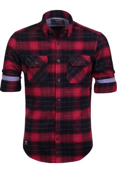Cosplay Yıkamalı Oduncu Gömlek Çift Cep Kapaklı Katlama Kollu Slim Fit Gömlek Kırmızı S