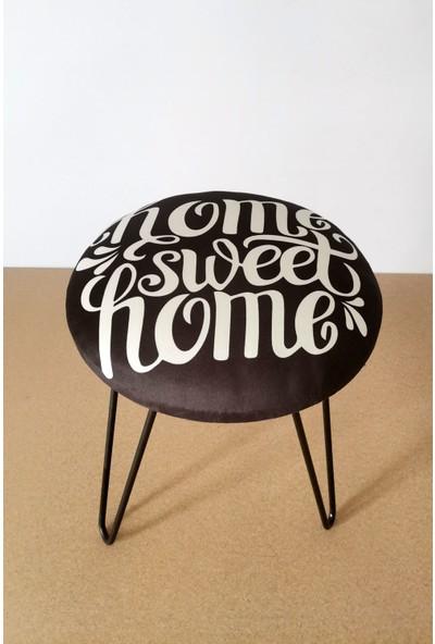 Home Sweet Home Desenli Siyah Puf