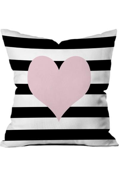 Sweet Home Arts Pembe Kalp Yastık Kırlent Kılıfı